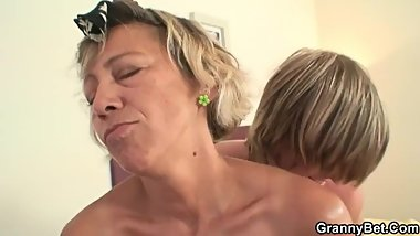 Mature cleaning lady gets young guys dick.