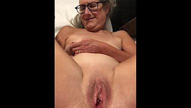 Dildo Play Legs Pussy Spread Wide 60 year old Milf Granny Glasses