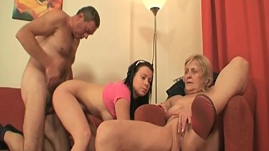 Grandpa fucks babe and granny in the living room