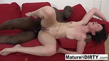 Brunette mature needs a big black cock to fuck her ass!