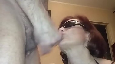 redhead granny takes cum in mouth