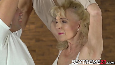 Promiscuous granny sucks and fucks with younger stud