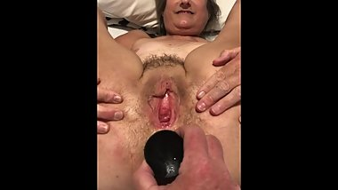 mature granny wife mom milf spread pussy and butt plug asshole spread