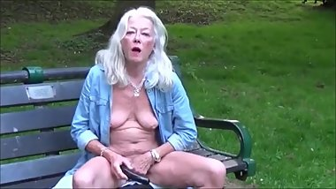 Skinny hot granny flashing and masturbating outdoor