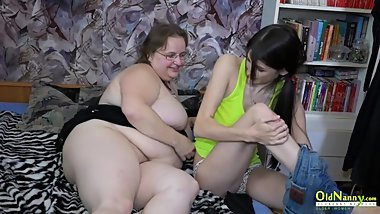 OldNannY Teen and Mature Lesbian Toying Action