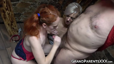 Nubile passionately rides an old man next to horny grandma