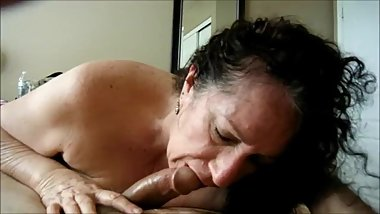 Granny Amateur Blowjob POV and Swallow Cum