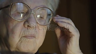 Granny looking  at a big cock
