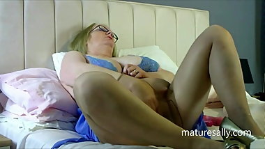 Sally in blue negligee and pantyhose