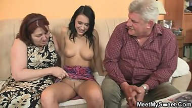 Oh God! She is riding my dad's cockЕ