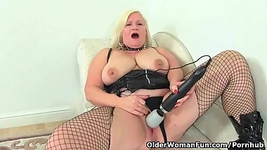 English granny Lacey Starr using her magic wand vibrator