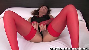 Hot Granny In Stockings And Lingerie Rubs Her Hairy Pussy