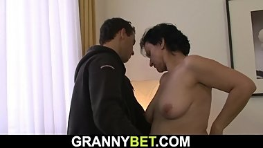 Skinny 60 years old granny sucks and rides his cock