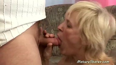 Dirty Granny Stuffs Her Mouth With Penis