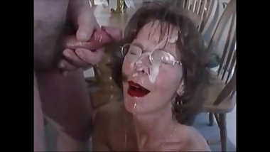 Granny with Glasses Take an Extreme Facial