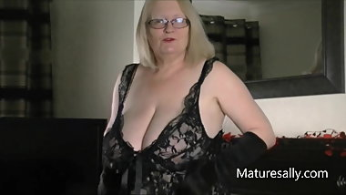 Big tits, black negligee and long  black gloves