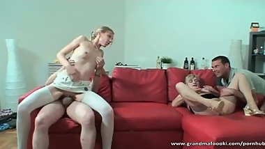 Superb babe and her granny are fucked hard