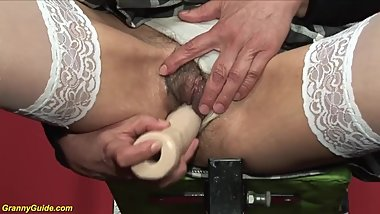 Sexy Hairy Granny Gertrud Plays With A Toy And Gets Nailed By Gentleman Gym