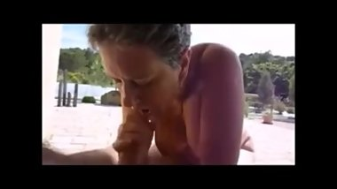 Short hair granny giving a fast blowjob and get cum in mouth