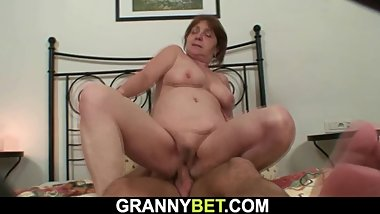 Injured hairy pussy granny rides his young cock