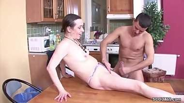 Young Guy Seduce Grandma to Fuck when Mom away