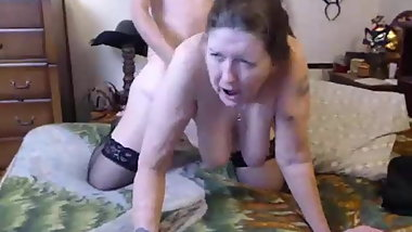 Granny with big saggy tits sucking & fucking