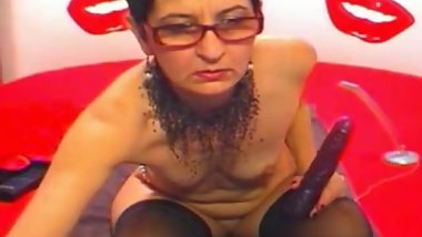 Hot Granny With Glasses Small Tits And Nice Ass Dildoing