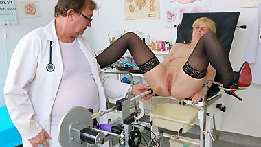 Horny granny's gyno exam and fucking machine orgasm