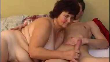 Chubby old Russian slut ride young cock