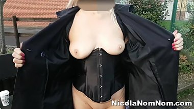 Mature Granny Handjob Driving and Various Flashing With Toyboy