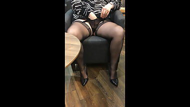 Upskirt in the Coffee Bar