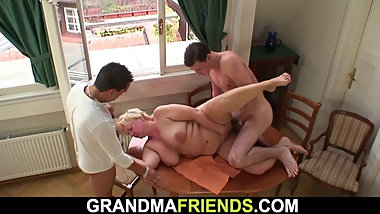 Boozed big tits blonde granny gets double dicked