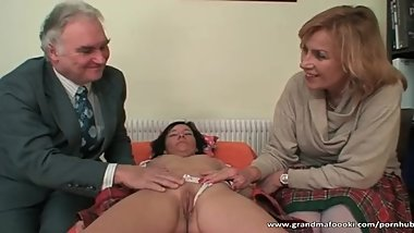 Mature couple having fun with hot babe