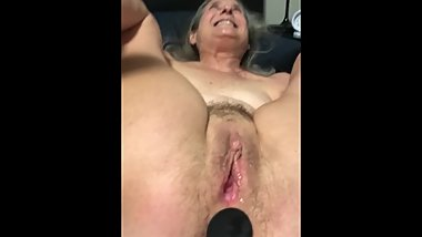 Removing butt plug from just fucked 60 year old wife