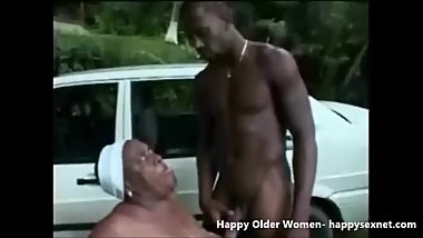 Black granny used by young outdoor. Amateur older