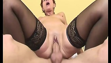 Sexy Granny Maid In Sexy Stockings Anal Fucked