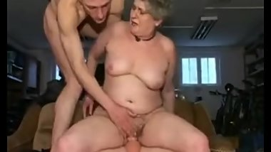 Fat granny Sandora with two young guys 2.