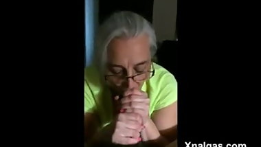 70-year-old grandmother makes deep throats