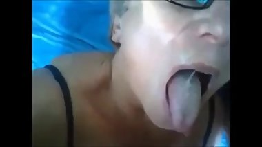 Very Sexy Granny Taking Cum In Mouth