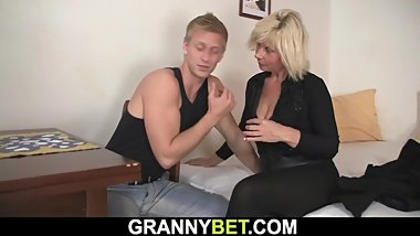 He doggy-fucks old blonde milf
