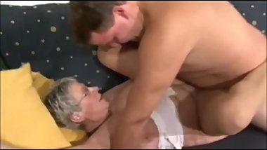 German Granny fucks young stranger boy