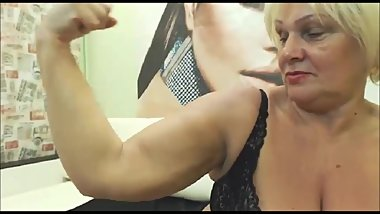 Granny flexes her hard biceps on cam