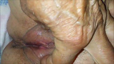 Naughty 65 Year-Old Granny's Pussy Up Close