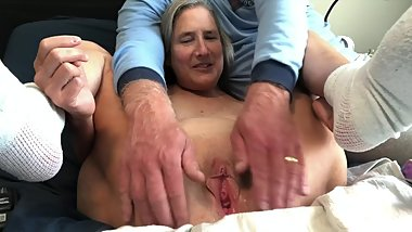 Hot MILF 60 Year Old Rabbit Play and Squirt Big Pussy Gape Mature Granny