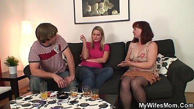 Wife watch her old mother inlaw rides his dick
