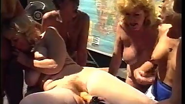 Sex orgy with studs and grannies outdoor