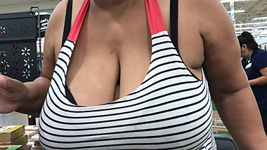 Ebony granny with enormous tits