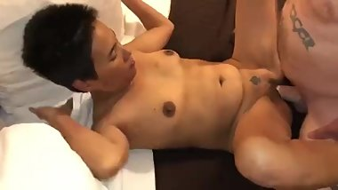 Asian Granny Cuckold Takes White Creampie