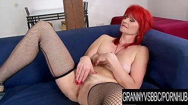 Granny Vs BBC - Black Guy Helps Bushy Redhead Amanda Rose Sate Her Desires