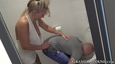 Naughty granny toys her cute fuckers ass before being banged